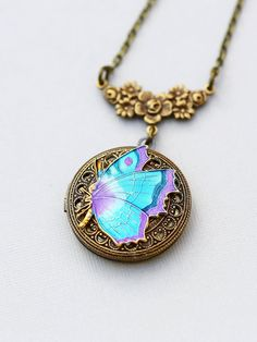 Locket NecklaceBlue Butterfly by emmalocketshop on Etsy