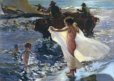 "La Hora Del Bano ""the bathing hour""...by Joaquin Sorolla 1904. Oil on Canvas. Gorgeous! Sold for  $6.2 million in 2003. Another Vanessa Fave! :)"