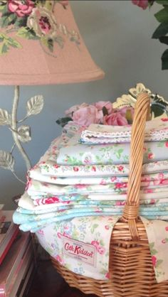 Cottage Charm...Cath Kidston and Greengate fabrics with Laura Ashley lamp www.thevintageroom.info