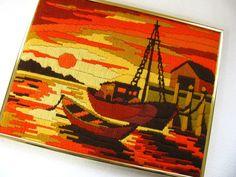SALE Vintage Sunset Crewel Nautical Crewel by HipCatRetroVintage