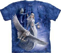 Snowy Owl Midnight Messenger T-Shirt / Tie Dye Anne Stokes Art Tee- Unisex Tie Dye Whimsical Art by Anne Stokes. Anne Stokes, World Famous Artists, Owl T Shirt, Rabe, Snowy Owl, Mountain Man, Mountain Shirts, Unisex, Wearable Art