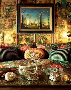 Gloria Vanderbilt's Two-Bedroom Upper East Side Apartment - Home Design Fall 2010 -- New York Magazine, The living room includes a painting by Thomas Adrian Fransioli of Gertrude Vanderbilt Whitney's mansion in Old Westbury. Gloria Vanderbilt, Vanderbilt Houses, Hipster Decor, Interior Decorating, Interior Design, Bohemian Decor, Boho Chic, Bohemian Interior, Bohemian Gypsy