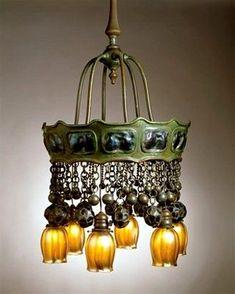 Vintage ca 1905 Tiffany Turtleback Electrolier