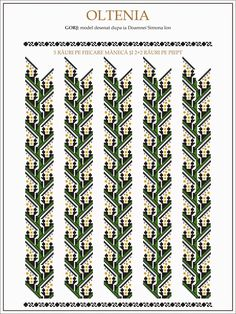 Popular Folk Embroidery Semne Cusute: ie Olteneasca - margarit Folk Embroidery, Learn Embroidery, Embroidery Patterns, Cross Stitch Patterns, Machine Embroidery, Beaded Cross Stitch, Antique Quilts, Embroidery Techniques, Beading Patterns