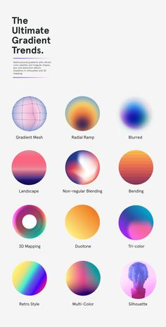 Trendy Gradients in Web Design. We can blend colors in multiple ways, the most common being linear or radial, radius, orientation, opacity or color points. Non-uniform blends, gradient mesh .Monotone, duotone, multicolor, gradient ramp, 3d mapping