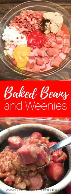 Baked Beans and Weenies are a great budget-friendly meal for dinner, football parties, or a picnic. Holidays are a great time to make baked beans and weenies. Supper Recipes, Side Dish Recipes, Great Recipes, Favorite Recipes, Side Dishes, Fast Recipes, Main Dishes, Beans And Weenies, Frank And Beans