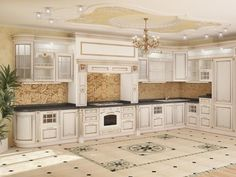 This gorgeous and spacious house is located in Russia and is built in the typical for the country neo-baroque style. The interior is bright and functional, yet it reminisces that of a house Baroque, Rococo, Kitchen Interior, Kitchen Design, Classic Ceiling, Luxury Rooms, Interior Decorating, Interior Design, Kitchen Styling