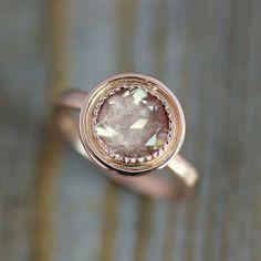Oregon sunstone engagement ring rose gold