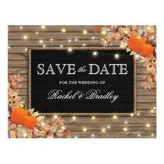 Rustic Autumn Fall Pumpkin Save the Date Postcard