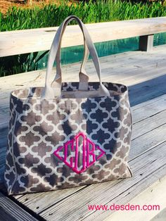 """Our beautiful new canvas totes make beautiful mothers day gifts! Choose from 5 different soft hues in our quatrafoil patterned canvas totes. We call them """"vintage"""" because of the faded look, Mom will love the heavy canvas, the interior pockets and the gorgeous colors. Personalize it with a monogram! www.desden.com #usamade"""
