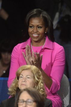 Michelle Obama  pink Outfts second Presidential Debate .  Oct. 2012  (1st Presidential Debate Dress ) September 2012 For more outfits modeled by Women over 45 see: http://stillblondeafteralltheseyears.com/category/outfits-modeled-women-over-45/