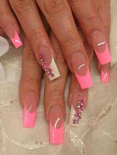 french manicure, pink, white, nail art