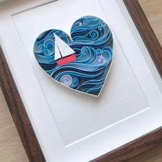 Quill Nautical Heart - Love art - Paper Heart for him Anniversary Nautical Heart Quilling Love art Paper 3d Art, 3d Paper Art, Quilled Paper Art, Quilling Paper Craft, Origami Paper, 3d Paper Crafts, Cut Paper, Paper Crafting, Arte Quilling