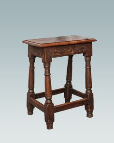 17th century joined oak stool, Marhamchurch antiques