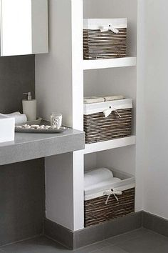 bathroom storage ideas - Re-organize your towels and toiletries during your next round of spring cleaning. Check out some of the best small bathroom storage ideas for Basement Bathroom, Bathroom Interior, Kitchen Interior, Kitchen Design, Bathroom Cabinets, Kitchen Cabinets, Bathroom Shelves, Built In Bathroom Storage, Bathroom Baskets