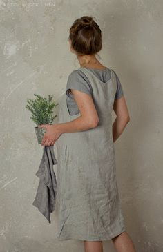 LINEN APRON DRESS. charcoal by KnockKnockLinen on Etsy