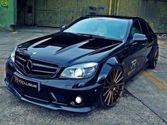 #Mercedes-Benz #C63 AMG #Black #Vossen Rims #Modified #Stance