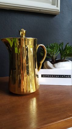 Excited to share the latest addition to my #etsy shop: Metallic gold china milk jug http://etsy.me/2n03ofL #housewares #kitchen #gold #white #china #jug #vintage #tea #coffee