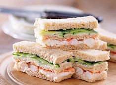 Prawn and pickled cucumber sandwich bars