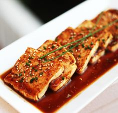 Pan Fried Asian Tofu--This recipe can be made quickly as a starter or main dish. It's also great to serve as part of a larger Asian meal. Enjoy!