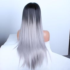 Silk Straight Gray Synthetic Lace Front Wig Glueless Ombre Tone Color Black And Grey Heat Resistant Hair Wigs
