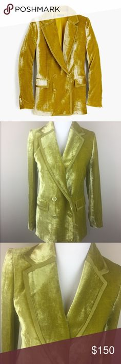 """{J. Crew Collection} velvet blazer W/ ribbon trim *Measured laying flat*  Bust: 17"""" Length: 29"""" Sleeve: 24""""  Condition: Excellent condition. No holes or pilling. J. Crew Jackets & Coats Blazers"""