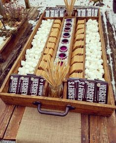 Extra Large Rustic Wood S'mores Station, S'mores Bar, Party Station, Wedding S'mores Roasting Statio Extra Large Rustic Wood S'mores Station S'mores Bar Event Planning, Wedding Planning, Party Stations, Wedding Food Stations, S'mores Bar, Partys, Grad Parties, Graduation Party Foods, Outdoor Graduation Parties