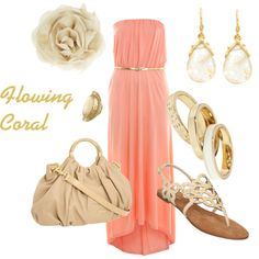 Flowing Coral, created by roxannepatton on Polyvore