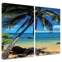 ArtWall 'Beautiful Anini Beach' by Kathy Yates Flag 3 Piece Photographic Print on Wrapped Canvas Set Size: