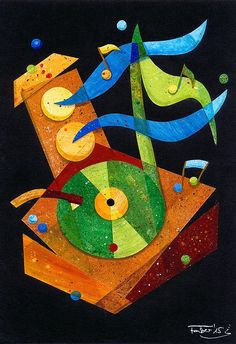 "Illustration ""Happy 70s"" by Daniela Faber, collage, acrylics; record player, notes, loud speaker, fun"
