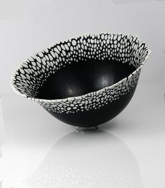 Pebble Rimmed Deep Form Bowl by Bob Leatherbarrow