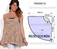 Analise de forma detalhada o desenho do molde de blusa godé. Esta blusa é simples e bela, veste de forma descontraída e elegante. Tamanho 42. by cornelia