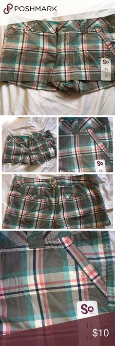 So short shorts These are size 11 plaid shorts extra button included. So Shorts