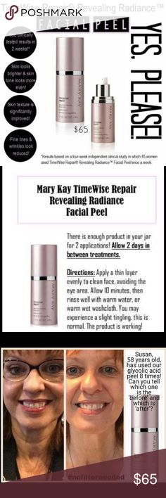 NEW!TimeWise Repair®Revealing Radiance™Facial Peel The NEW TimeWise Revealing Radiance Peel!! LOOK at those Results (after ONLY 8 uses)!!!!!!!!!! Everyone is getting it!  Get yours TODAY!!! During my AMAZING EXCLUSIVE SALE-FREE SHIPPING on my website https://www.marykay.com/marylawson/en-US/products/skincare/TimeWise-Repair-Revealing-Radiance-Facial-Peel-300524!!!          (100% Satisfaction Guarantee, a money back guarantee!!!) LOVE!!!❤️❤️❤️ Mary Kay Other