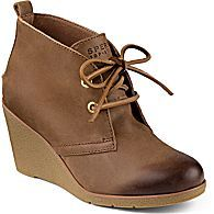 Harlow Burnished Leather Wedge Bootie, Cognac