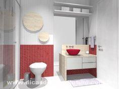 Banheiro alegre e jovial. http://dicasdearquitetura.com.br/dicas-para-escolher-cor-banheiro/