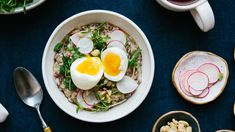 Breakfast Porridge with Soft Egg and Pea Shoots Recipe Breakfast Porridge, Savory Breakfast, Pea Shoot Recipe, Brunch Egg Dishes, Soft Boiled Eggs, Wonderful Things, Vegetarian, Meals