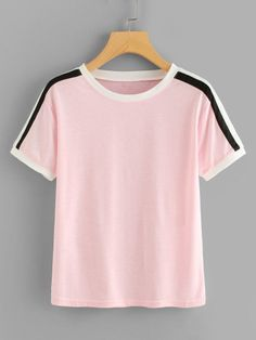 SheIn offers Striped Sleeve Tee & more to fit your fashionable needs. Fashion Clothes, Fashion Outfits, Plus Size T Shirts, Striped Fabrics, How To Roll Sleeves, Striped Tee, Fashion News, Fashion Fashion, Fashion Online