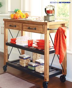 A rolling cart can be a blessing in the kitchen or any space where you need a little more storage. They add an element of functionality while still being incredibly stylish. Serve food store plates set out holiday treats or have your morning cup of joe New Kitchen, Kitchen Dining, Kitchen Decor, Kitchen Carts, Kitchen Ideas, Dining Room, Apartment Living, Home Organization, Home Projects
