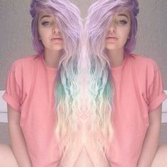 Pastel lilac, aqua blue, and white/blonde