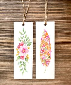 Excited to share this item from my shop: Watercolor Bookmark - set of two - original watercolor art, botanical illustration art, inspirational quotes, teacher appreciation gifts Watercolor Drawing, Watercolor Cards, Watercolor Flowers, Creative Bookmarks, Diy Bookmarks, Watercolor Bookmarks, Book Markers, Paper Crafts Origami, Art Journal Techniques