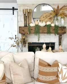 Fall Home Decor, Autumn Home, Fall Fireplace Decor, Fall Decor For Mantel, Fall Decorations, Seasonal Decor, Living Room Decor, Fall Living Room, Halloween