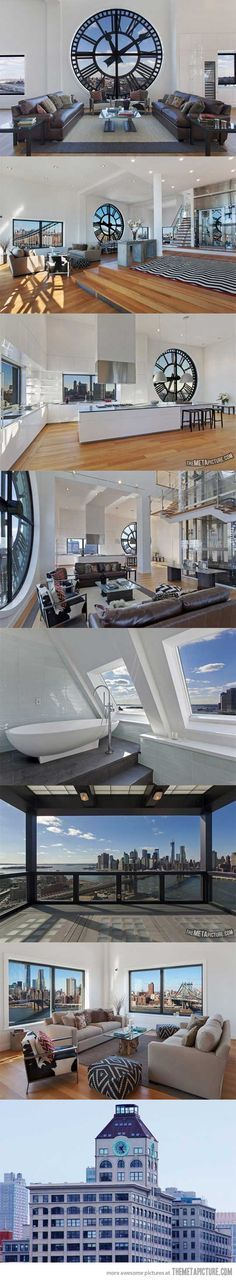 Clock tower apartment… on http://seriouslyforreal.com/architecture/clock-tower-apartment/