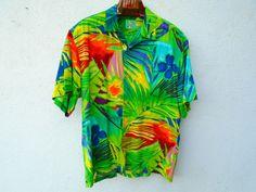 JAMS WORLD Mens Shirt Jungle Palm Rain Forest Hawaiian Shirt Size L #JamsWorld #Hawaiian