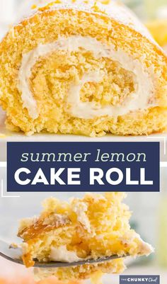 This Lemon Cake Roll is bursting with lemon flavor, ultra moist, and filled with an amazing lemon whipped cream filling. Looks fancy and complicated, yet is pretty easy to make! #cakeroll #lemon #rollcake Lemon Dessert Recipes, Cake Mix Recipes, Lemon Recipes, Cupcake Recipes, Easy Desserts, Delicious Desserts, Cupcake Cakes, Icing Recipes, Party Recipes