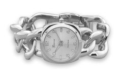 "7.5"" Silver Tone Curb Link Fashion Watch"