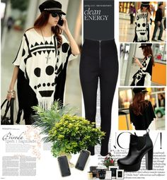"""""""Bat-wing Sleeve Women Loose T-shirt"""" by fashionsara1987 on Polyvore"""