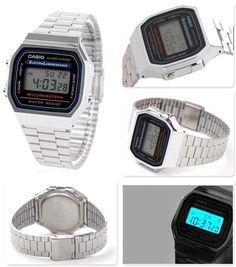 881e3e98d83 Relógio Cassio Aço Retrô Vintage Unissex Dourado E Prata