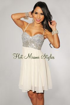 Ivory Silver Sequin Baby-Doll Padded Dress