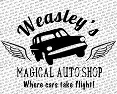 Weasley's one stop magical auto shop! Fun Harry Potter inspired digital design Format: SVG and JPG Harry Potter Car, Harry Potter Shirts, Disney Silhouette Art, Harry Potter Christmas Tree, Vinyl Monogram, Just Cross Stitch, Travel Shirts, Vinyl Shirts, Silhouette Cameo Projects